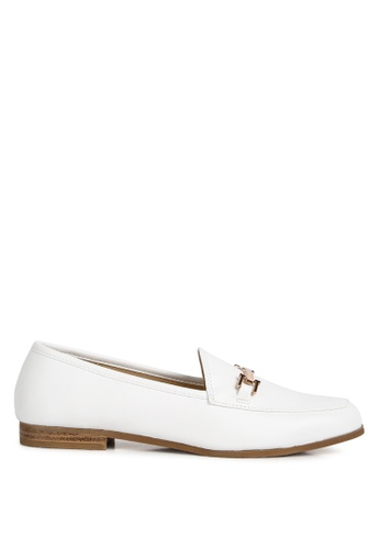 London Rag white Solid Colored Faux Suede Loafers 60C49SH4B1DBFAGS_1