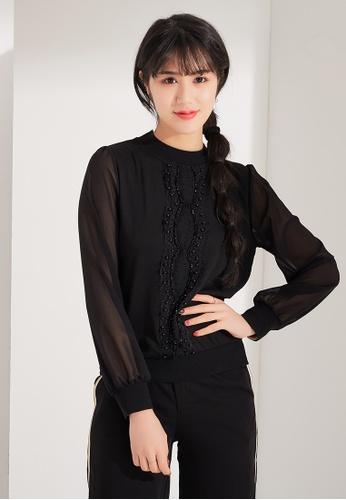 Zafiti black Lace Bead Blouse BE1E0AAB6DF629GS_1