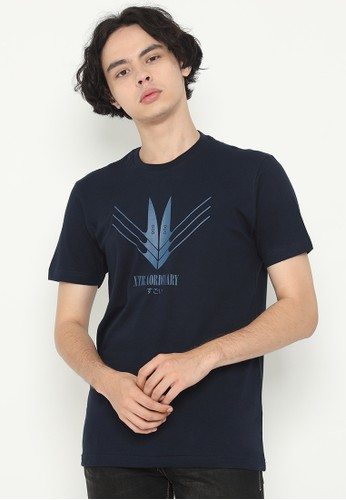 XTRAORDINARY (XO) navy Graphic Cotton Combed Fashion Tee 710D7AAB956C83GS_1