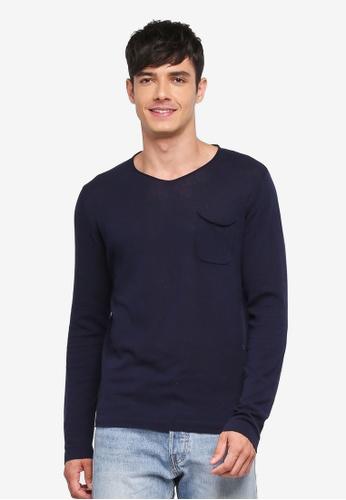 Jack & Jones 藍色 長袖針織T恤 94C7BAA1D012C2GS_1