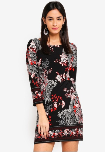 110a73bc6266ad Buy Wallis Petite Black Paisley Print Shift Dress Online on ZALORA ...