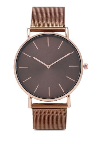NUVEAU brown Round Face Bronze Mesh Strap Watch 25D08AC07C5AB6GS_1