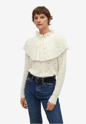 Mango beige Openwork Knit Sweater 872A5AA774C991GS_1