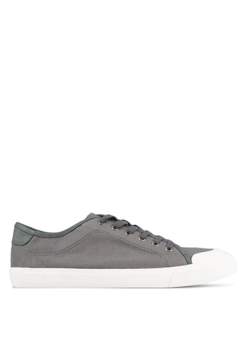 Topman grey Grey Canvas Rubber Toe Plimsolls TO413SH0S7YXMY_1