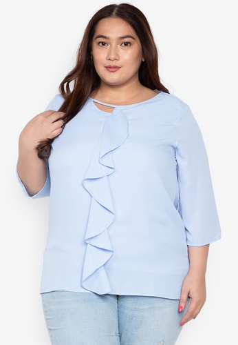 066ca8fd6574 Divina blue Plus Size 3 4 Sleeve Blouse With Front Frill Details  F2F1CAAED0AED4GS 1