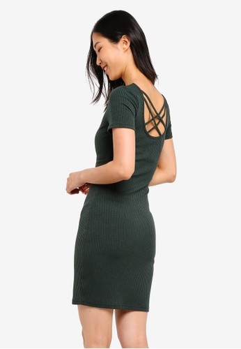 ZALORA BASICS green Basic Ribbed Dress With Cross Back 4502AAA75DA8DDGS_1