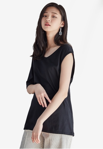NAIN black One Shoulder Top F1084AAD7A0A86GS_1