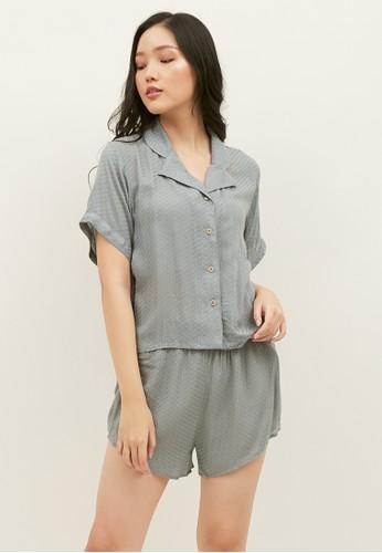 Elans green Matcha Mint Green Textured Pajama Set 9A9B7AA03491DCGS_1