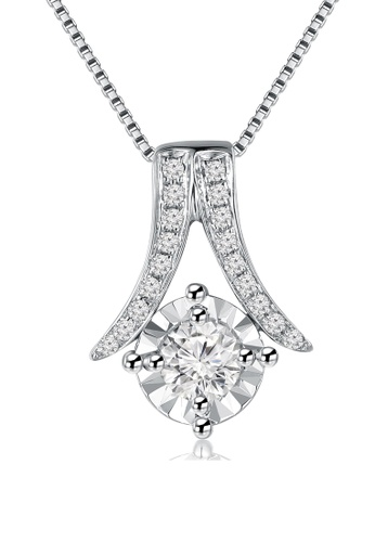 "MaBelle silver 18K White Gold Illusion Setting Diamond Pendant With Sterling Silver Chain (16"") MA584AC86IIBHK_1"