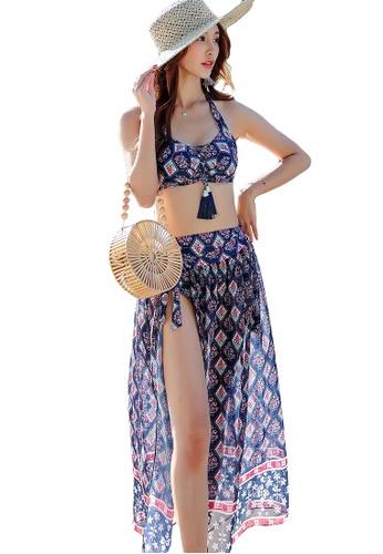YG Fitness navy (3PCS) National Wind Subby Bikini Swimsuit Set EDA74US082E4AFGS_1