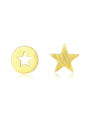 SUNRAIS gold High quality Silver S925 golden five-pointed star earrings D274BACC3BFDA1GS_1
