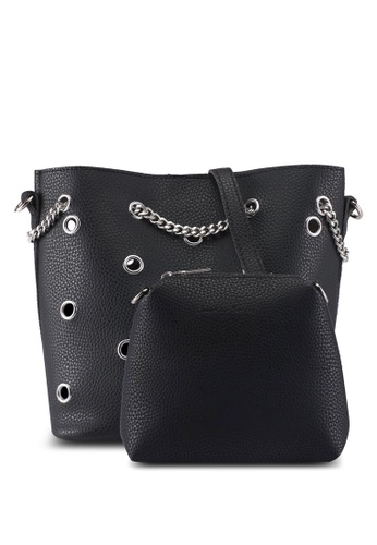 Something Borrowed black Bucket Bag With Metal Detail 29331ACB6235FFGS_1