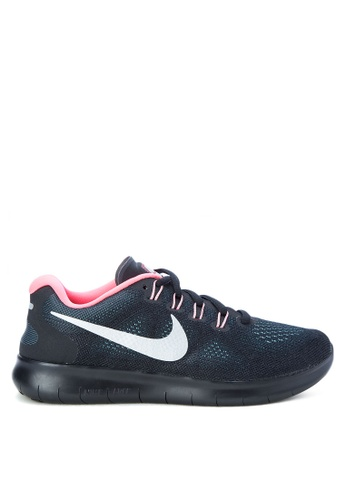 Nike black and grey and silver Women's Nike Free RN 2017 Running Shoes NI126SH0SN8EMY_1