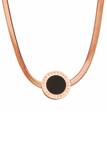 """CELOVIS black and gold CELOVIS - Thea """"Love Forever"""" in Black Snake Chain Necklace 186BEAC88FD776GS_1"""