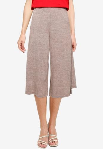 UniqTee brown Cropped Wide Leg Pants 3FC38AA056D3A0GS_1