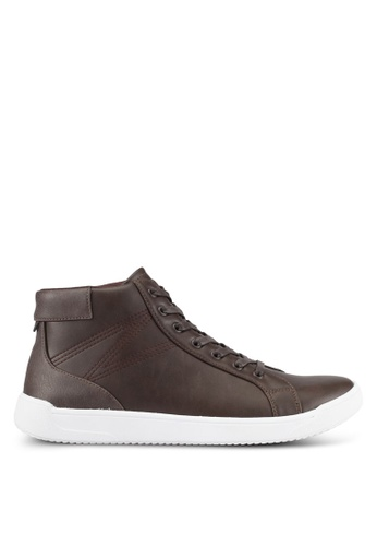 ZALORA brown Faux Leather High Top Sneakers 1C49DSH1EEE5EFGS_1