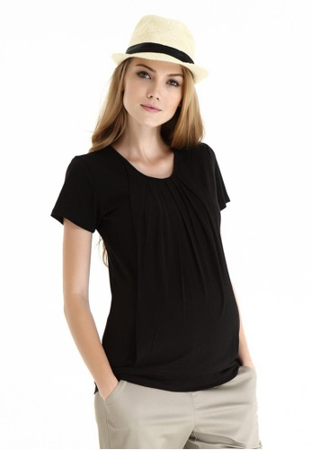 Bove by Spring Maternity black Knitted Short Sleeved Alma Blouson Top LTN6101 SP010AA43SFGSG_1