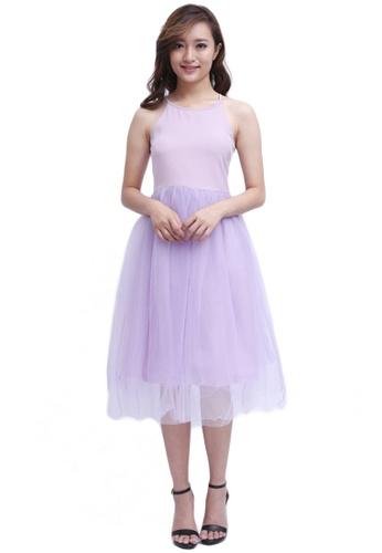 8bab665fb0 COVETZ Wedding purple Bella Tulle Midi Dress - Lilac CO611AA37VPIMY_1