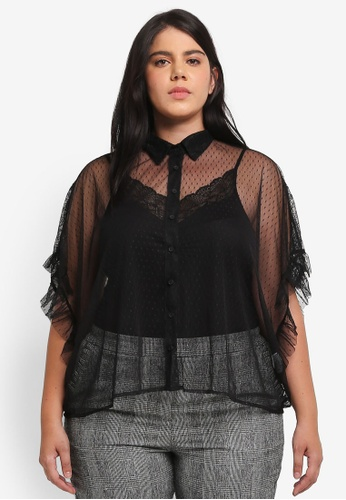 ELVI black Plus Size Black Polka Dot & Lace Shirt EL779AA0T1Q3MY_1
