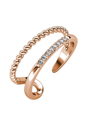 Her Jewellery gold Farrel Ring (Rose Gold) - Made with Premium grade crystals from Austria D15E2AC9702ED1GS_1