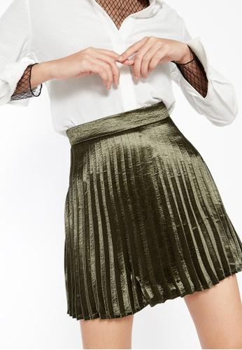 Pomelo green Tallis Pleated Metallic Skirt - Olive 5D7BAAA5E68CF4GS_1