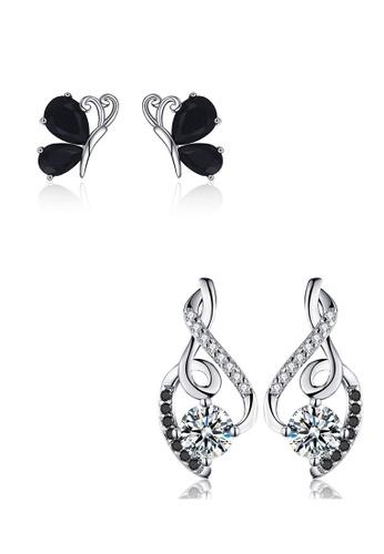 A-Excellence black Premium Elegant Black Silver Earring Set 786FDAC051C0C2GS_1