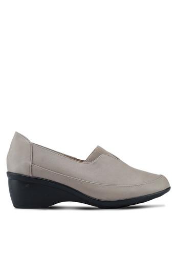 Noveni 米褐色 楔形懶人樂福鞋 C987BSHA654373GS_1