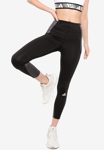 ADIDAS black own the run block 7/8 running leggings women E0790AA3ED3C9FGS_1