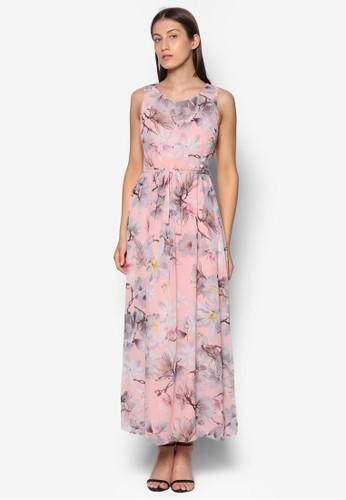 Petite esprit outlet 桃園印花束腰長洋裝, 服飾, 洋裝