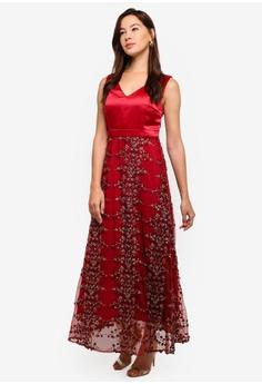 594acd17d0 Megane red Red Romance Diannah V-Neck Long Dress 145D9AA757E0DCGS 1