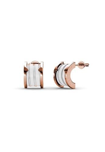 Her Jewellery gold Swarovski® Crystals -Destiny Ceramic Earrings (White)(18K Rose Gold Plated) Her Jewellery HE581AC0RE66MY_1