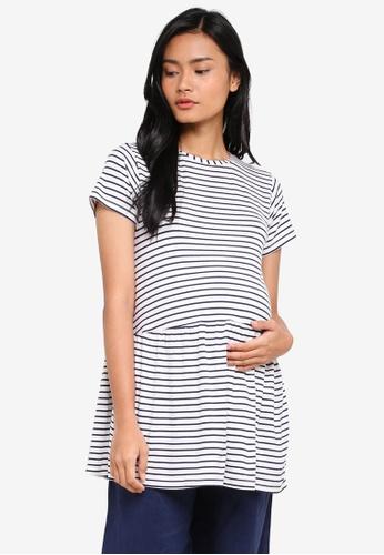 JoJo Maman Bébé white Maternity Stripe Peplum T-Shirt 43978AA8733A7BGS_1