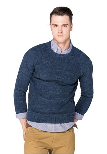 Chaps blue Chaps Round Neck Sweater  CH325AA0SAP7MY_1