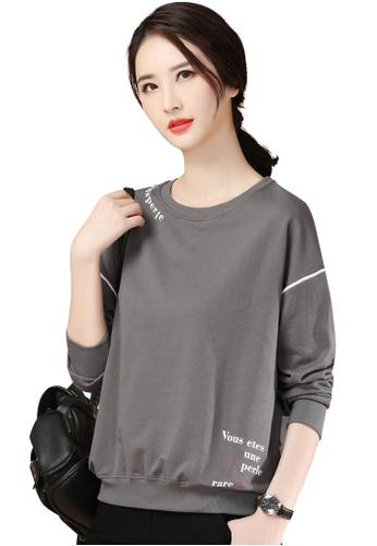 A-IN GIRLS 灰色 休閒寬鬆圓領衛衣 2165BAA29E2E83GS_1