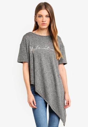 Brave Soul grey T-Shirt With Aysmmetric Hem 9CDD2AAABD7A3BGS_1