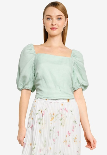Forever New green Jessica Lace Up Square Neck Linen Top 3B870AA2C84B93GS_1