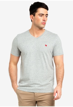 987ee589ac88e5 Abercrombie & Fitch grey Pop Icon V-Neck T-Shirt F5D2BAAC217C0AGS_1