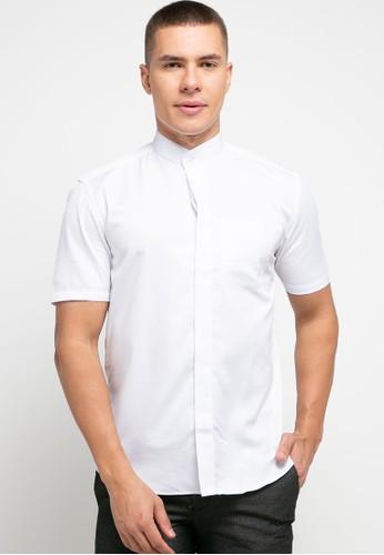 LORIENT white Lorient Short Sleeves Chain Slim Shanghai Collar B18BCAA26684E5GS_1