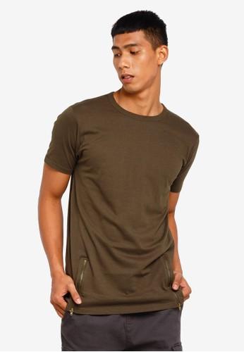 Brave Soul green Zipper Long Line T-Shirt 2960BAA9A5212FGS_1
