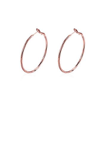 Glamorousky silver Simple Plated Rose Gold Geometric Circle Earrings D7046AC4B4AE63GS_1