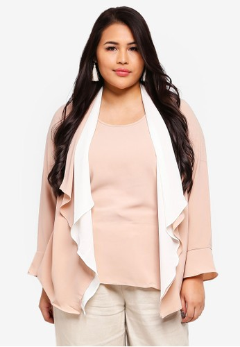 Ex'otico pink Plus Size Long Sleeve Double Layer Blouse 957B3AAA901FBAGS_1