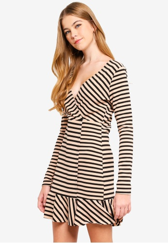 MISSGUIDED brown Wrap Front Dress 6E06FAA4F54448GS_1
