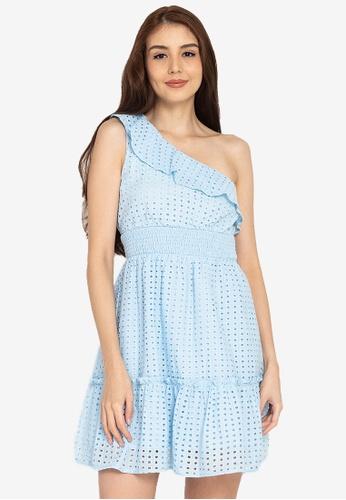 ZALORA BASICS blue Tiered Toga Dress 4E70AAA42228C9GS_1