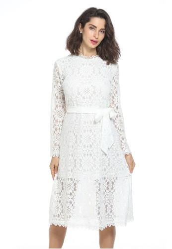 hk-ehunter white Stand Collar Hollow Lace Dress With Sash 72870AA7690F09GS_1