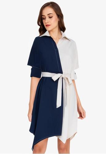 ZALORA WORK multi Handkerchief Hem Colourblock Dress EB006AAF7E69BAGS_1