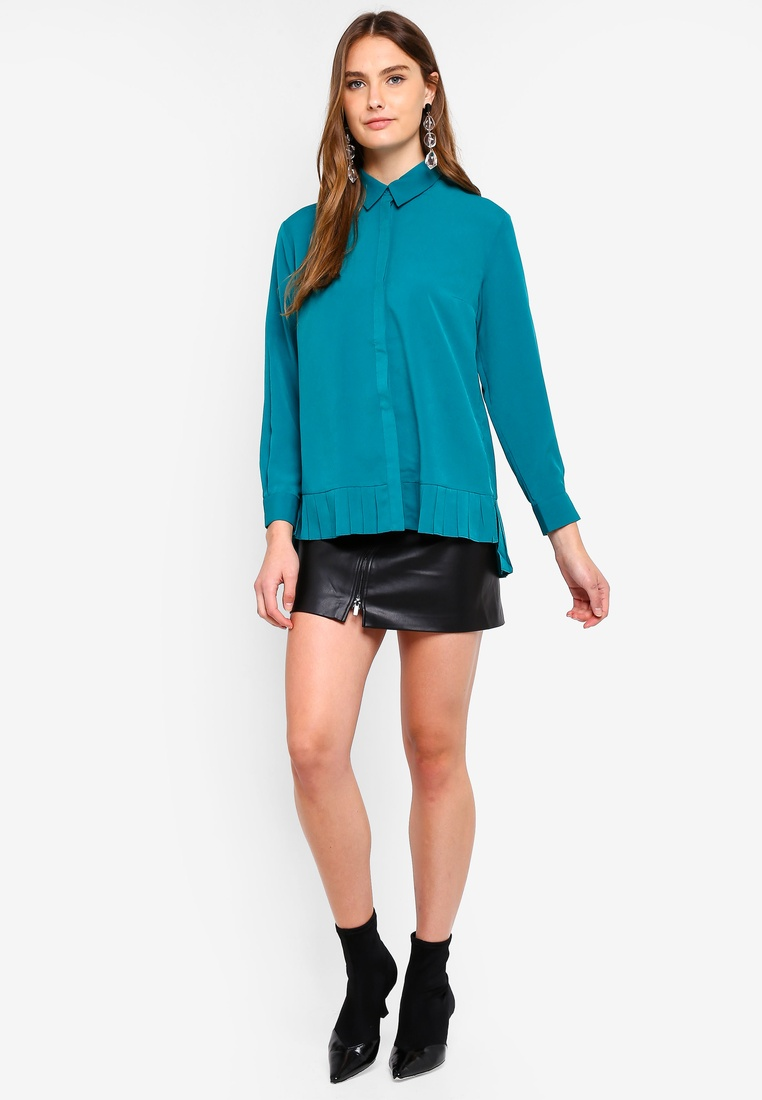 8674fbb6878 Connection Crepe Light Pleat French Blast Teal Shirt Hem aHx1dEEqTw ...
