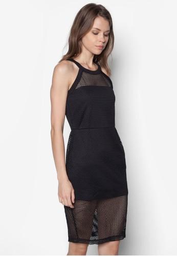 削esprit 工作肩網狀拼接洋裝, 服飾, 洋裝
