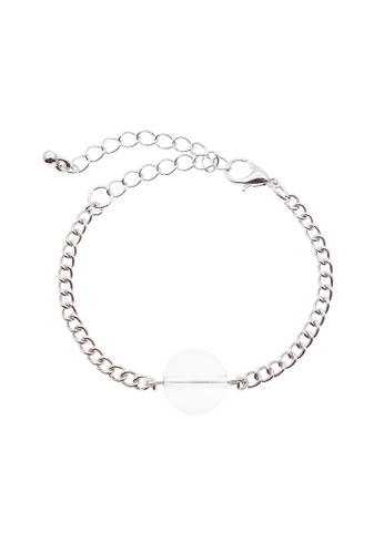 LUCCACAL white and silver Orb Pendant Bracelet LU294AC80KELMY_1