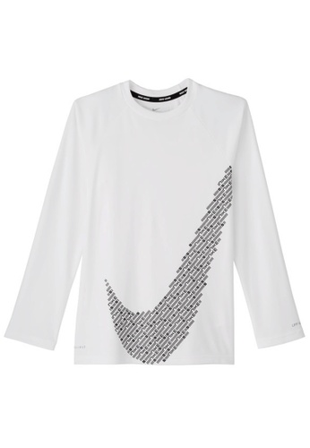 Nike white Nike Boy's Nike Matrix Swoosh Long Sleeve Hydroguard 87CF3AA9C8F5A4GS_1