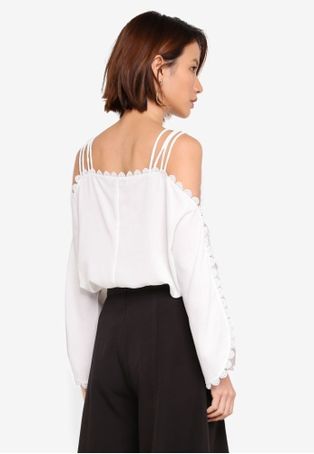 ad167e37e26ff Buy KLEEaisons Cold Shoulder Top With Lace Trim Online on ZALORA Singapore